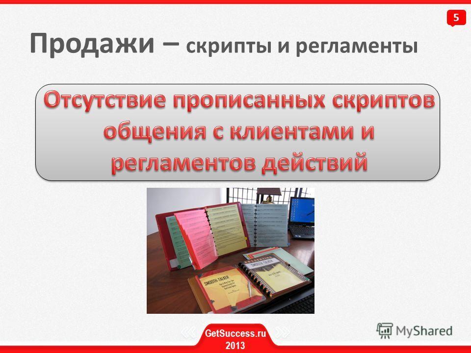 Продажи – скрипты и регламенты 5 GetSuccess.ru 2013