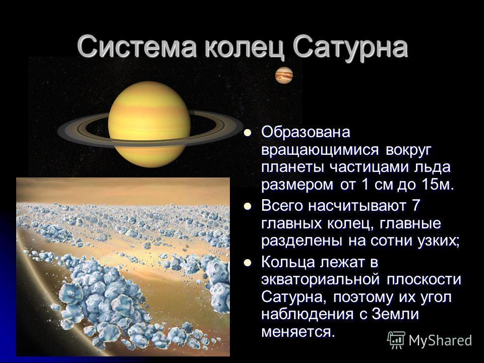 Система колец Сатурна Образована вращающимися вокруг планеты частицами льда размером от 1 см до 15м. Образована вращающимися вокруг планеты частицами льда размером от 1 см до 15м. Всего насчитывают 7 главных колец, главные разделены на сотни узких; В