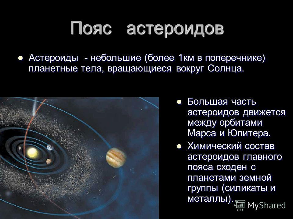 Пояс астероидов Астероиды - небольшие (более 1км в поперечнике) планетные тела, вращающиеся вокруг Солнца. Астероиды - небольшие (более 1км в поперечнике) планетные тела, вращающиеся вокруг Солнца. Большая часть астероидов движется между орбитами Мар