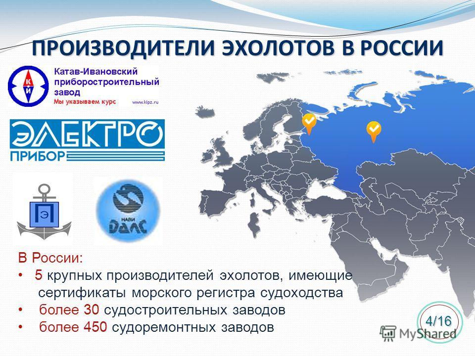 ПРОИЗВОДИТЕЛИ ЭХОЛОТОВ В РОССИИ В России: 5 крупных производителей эхолотов, имеющие сертификаты морского регистра судоходства более 30 судостроительных заводов более 450 судоремонтных заводов 4/16