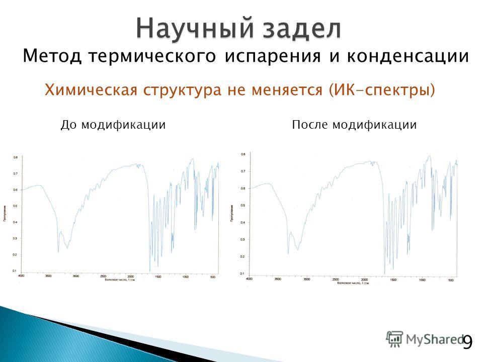Химическая структура не меняется (ИК-спектры) До модификацииПосле модификации Метод термического испарения и конденсации 9
