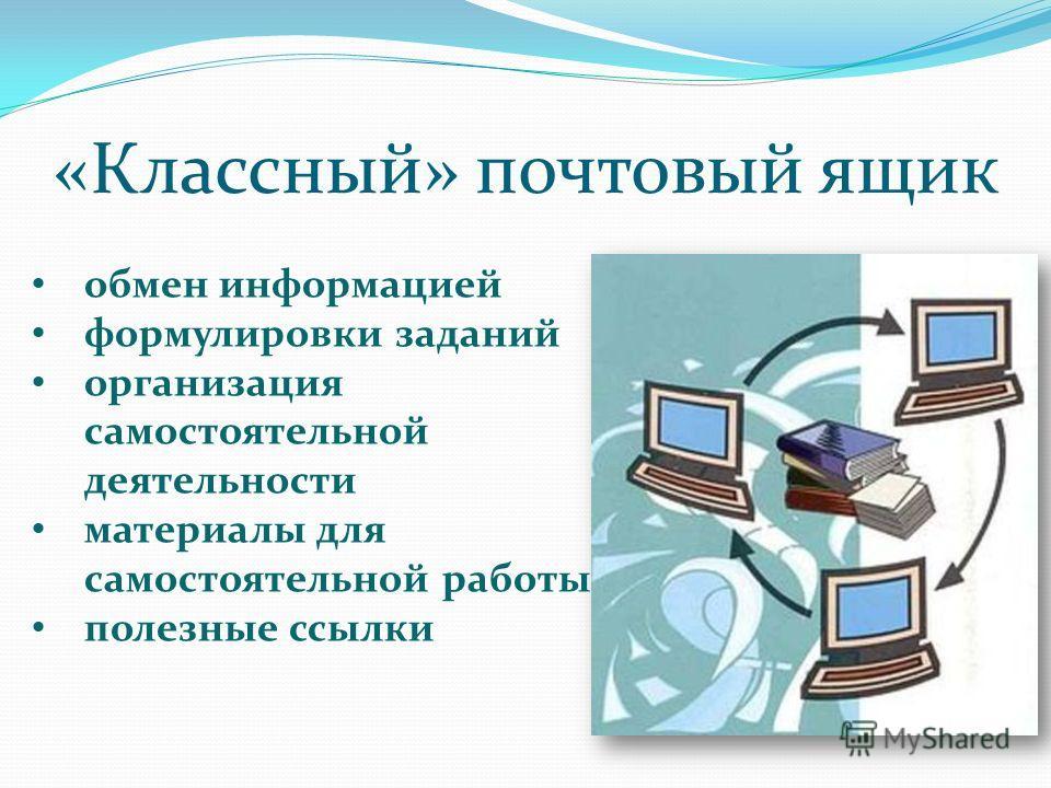 «Классный» почтовый ящик обмен информацией формулировки заданий организация самостоятельной деятельности материалы для самостоятельной работы полезные ссылки