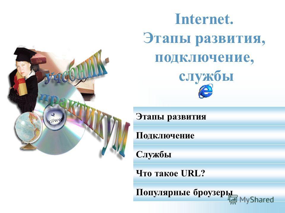Internet. Этапы развития, подключение, службы Этапы развития Подключение Службы Что такое URL? Популярные броузеры