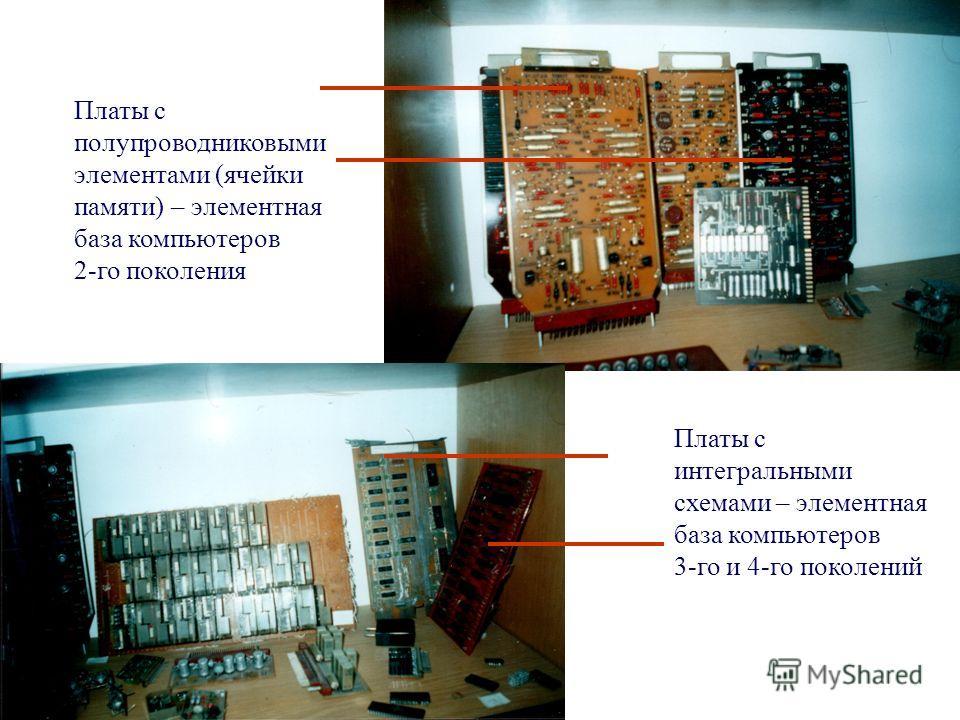 Платы с полупроводниковыми элементами (ячейки памяти) – элементная база компьютеров 2-го поколения Платы с интегральными схемами – элементная база компьютеров 3-го и 4-го поколений
