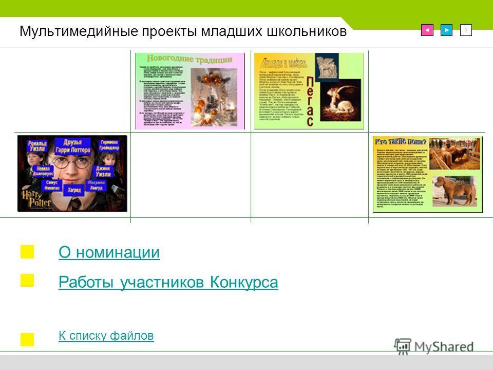 1 Мультимедийные проекты младших школьников О номинации Работы участников Конкурса К списку файлов