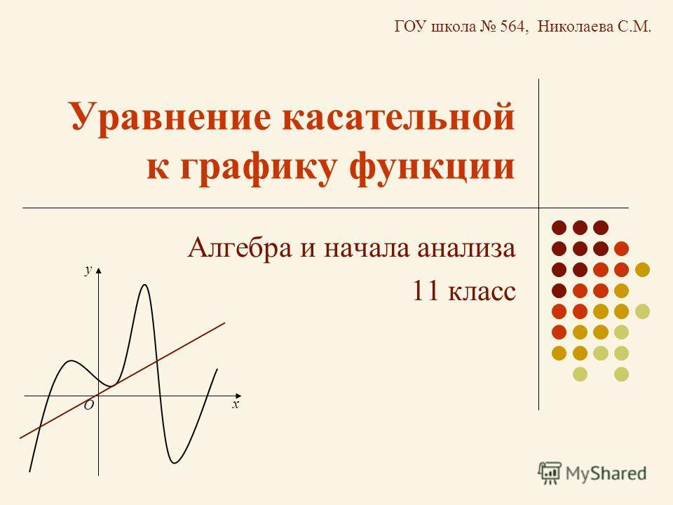 Уравнение касательной к графику функции Алгебра и начала анализа 11 класс х у О ГОУ школа 564, Николаева С.М.