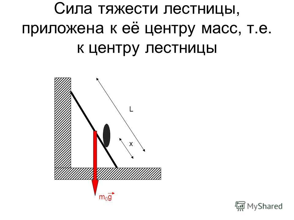 Сила тяжести лестницы, приложена к её центру масс, т.е. к центру лестницы L x m0gm0g