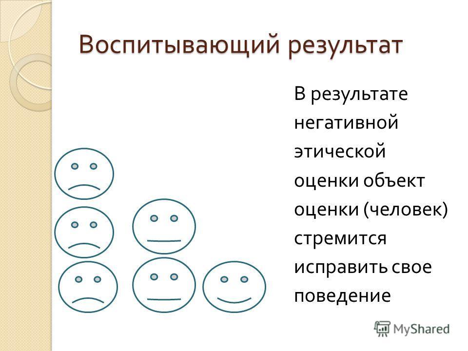 Воспитывающий результат В результате негативной этической оценки объект оценки ( человек ) стремится исправить свое поведение