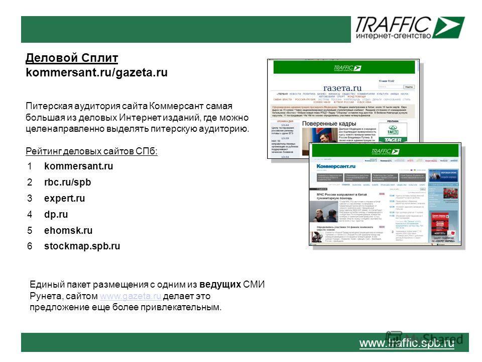 www.traffic.spb.ru Деловой Сплит kommersant.ru/gazeta.ru Питерская аудитория сайта Коммерсант самая большая из деловых Интернет изданий, где можно целенаправленно выделять питерскую аудиторию. Рейтинг деловых сайтов СПб: Единый пакет размещения с одн