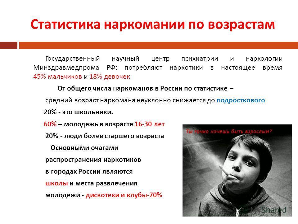 Статистика наркомании по возрастам Государственный научный центр психиатрии и наркологии Минздравмедпрома РФ : потребляют наркотики в настоящее время 45% мальчиков и 18% девочек От общего числа наркоманов в России по статистике – средний возраст нарк