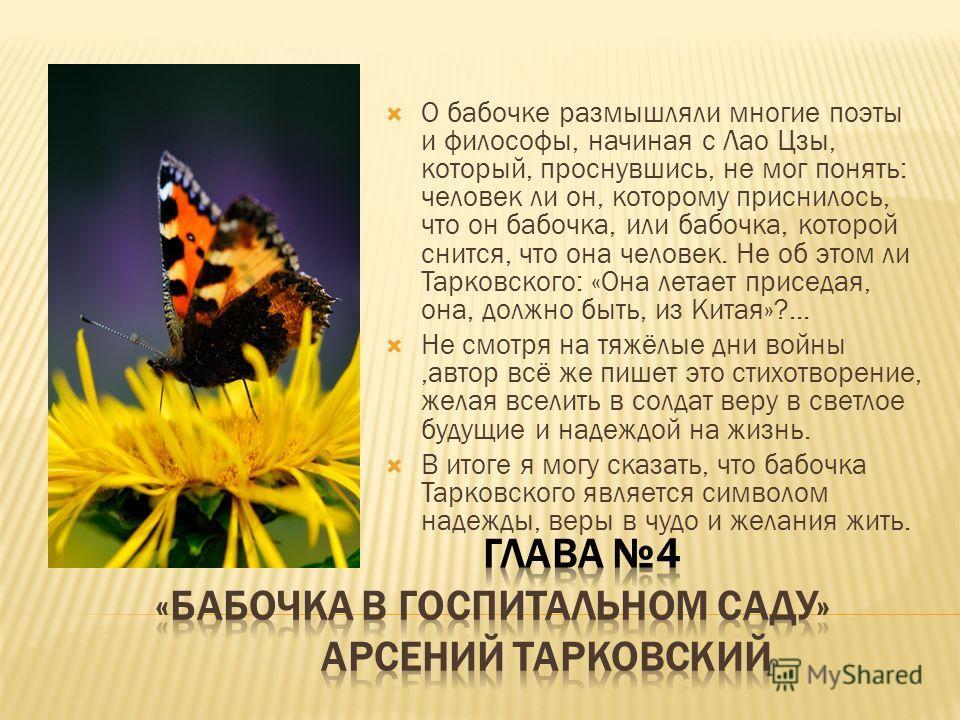 О бабочке размышляли многие поэты и философы, начиная с Лао Цзы, который, проснувшись, не мог понять: человек ли он, которому приснилось, что он бабочка, или бабочка, которой снится, что она человек. Не об этом ли Тарковского: «Она летает приседая, о