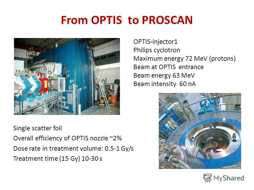 From OPTIS to PROSCAN Single scatter foil Overall efficiency of OPTIS nozzle ~2% Dose rate in treatment volume: 0.5-1 Gy/s Treatment time (15 Gy) 10-30 s OPTIS-injector1 Philips cyclotron Maximum energy 72 MeV (protons) Beam at OPTIS entrance Beam en
