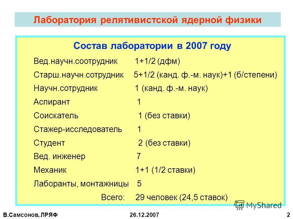В.Самсонов, ЛРЯФ26.12.2007 2 Лаборатория релятивистской ядерной физики Состав лаборатории в 2007 году Вед.научн.соотрудник 1+1/2 (дфм) Старш.научн.сотрудник 5+1/2 (канд. ф.-м. наук)+1 (б/степени) Научн.сотрудник 1 (канд. ф.-м. наук) Аспирант 1 Соиска