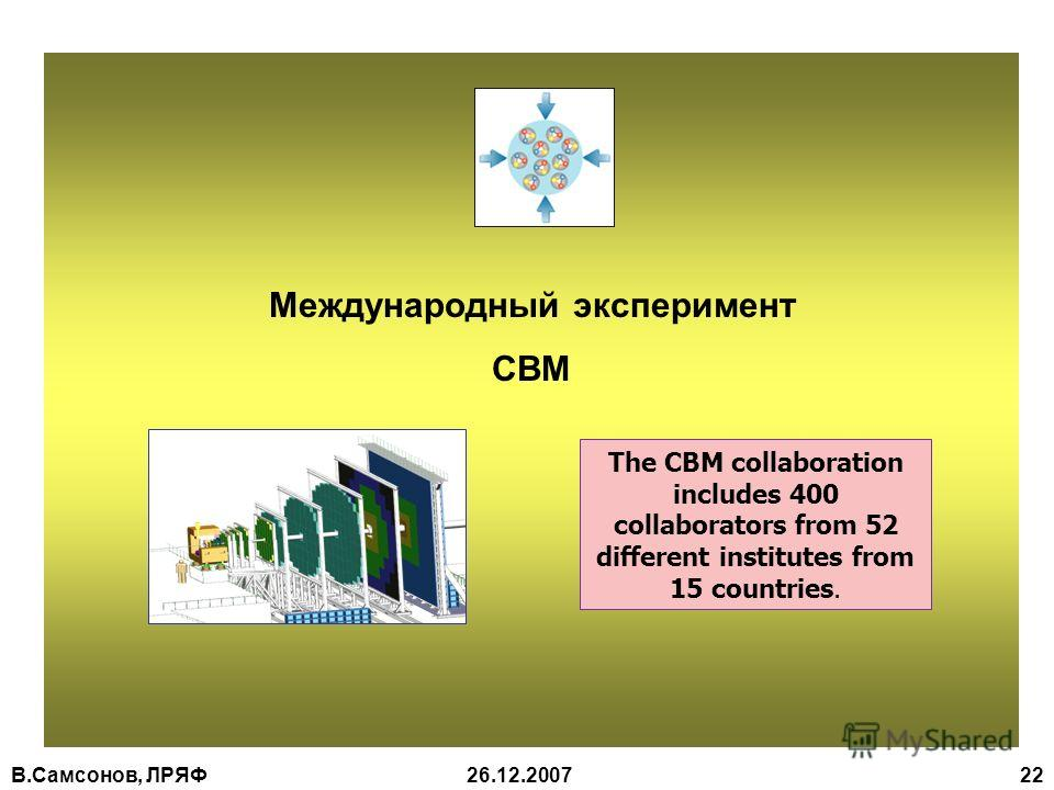 В.Самсонов, ЛРЯФ26.12.2007 22 Международный эксперимент CBM The CBM collaboration includes 400 collaborators from 52 different institutes from 15 countries.