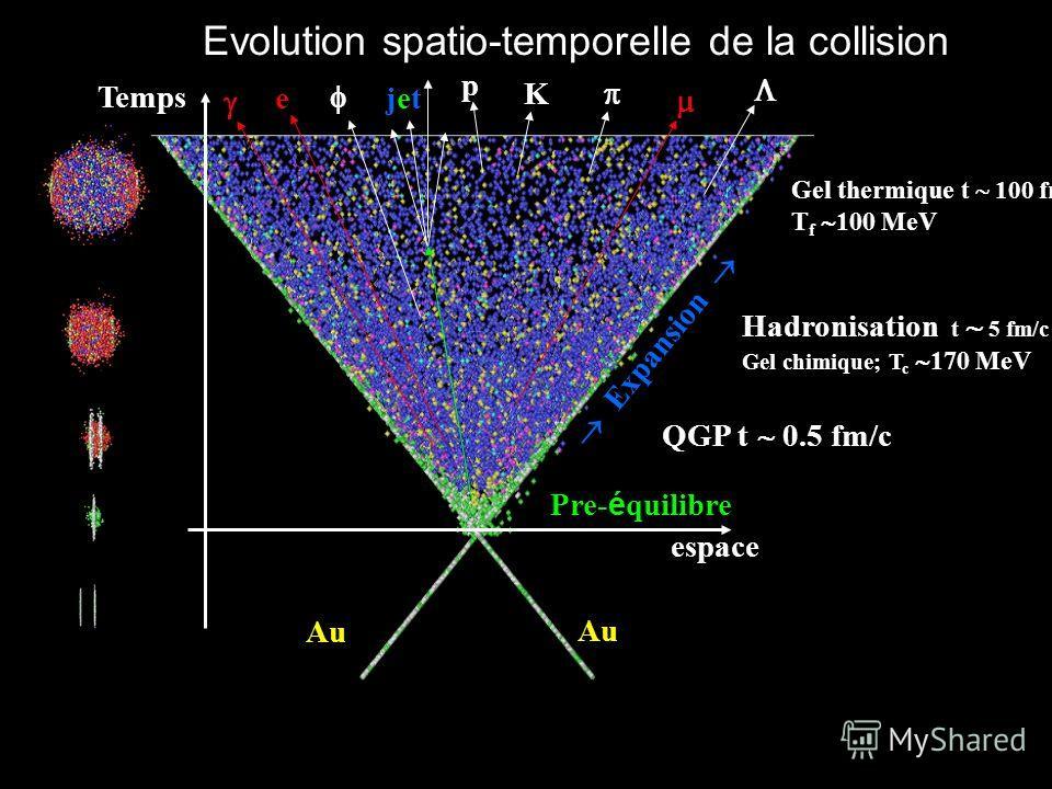 Evolution spatio-temporelle de la collision e espace Temps Au Expansion Hadronisation t 5 fm/c Gel chimique; T c 170 MeV p K Gel thermique t 100 fm/c T f 100 MeV QGP t 0.5 fm/c e jetjet Pre- é quilibre