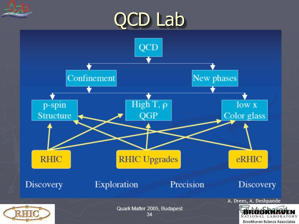 Brookhaven Science Associates Quark Matter 2005, Budapest 34 QCD Lab A. Drees, A. Deshpande