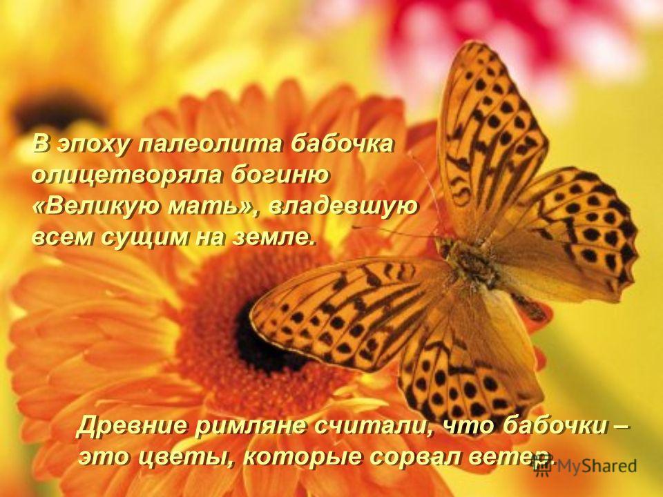 В эпоху палеолита бабочка олицетворяла богиню «Великую мать», владевшую всем сущим на земле. Древние римляне считали, что бабочки – это цветы, которые сорвал ветер.