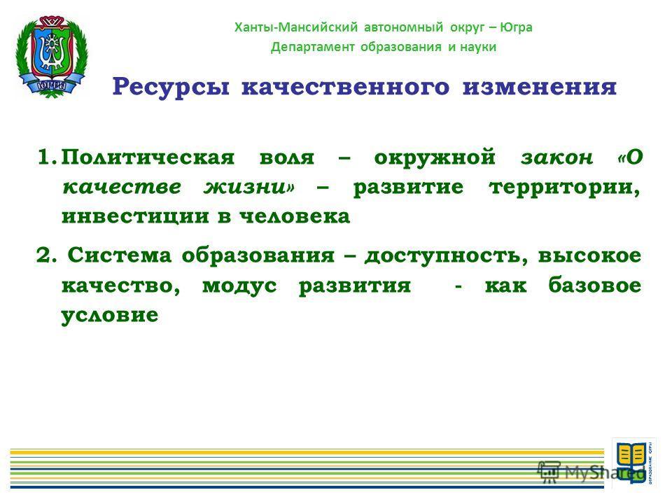 Ханты-Мансийский автономный округ – Югра Департамент образования и науки 1.Политическая воля – окружной закон «О качестве жизни» – развитие территории, инвестиции в человека 2. Система образования – доступность, высокое качество, модус развития - как