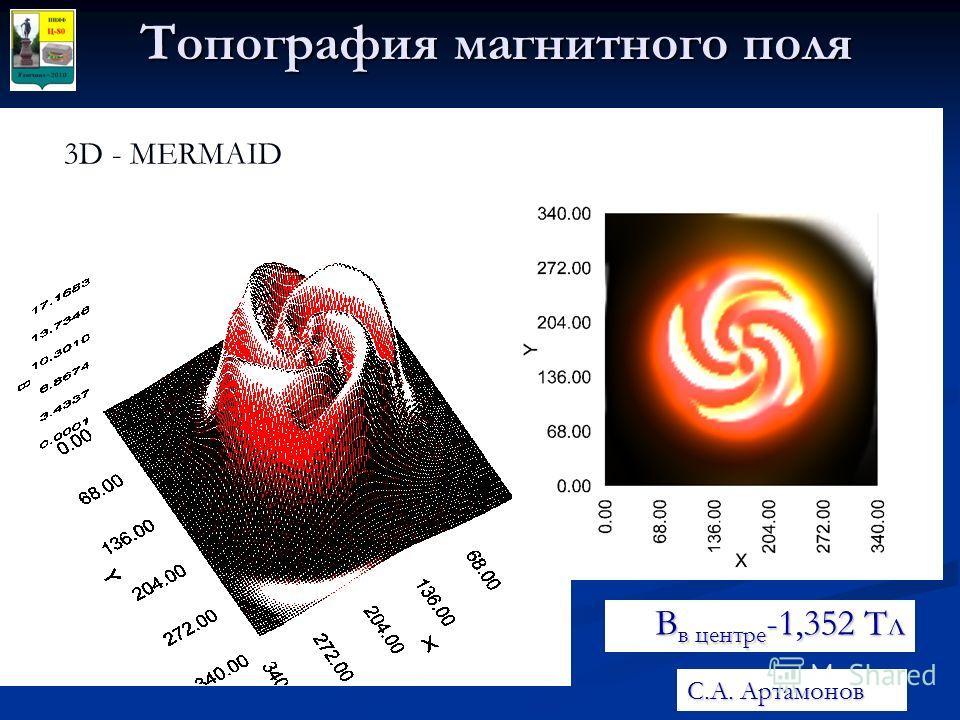 Топография магнитного поля Топография магнитного поля В в центре -1,352 Тл 3D - MERMAID С.А. Артамонов