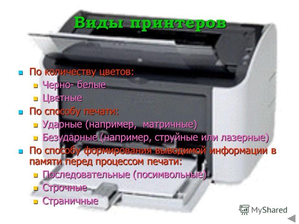 Виды принтеров По количеству цветов: По количеству цветов: Черно- белые Черно- белые Цветные Цветные По способу печати: По способу печати: Ударные (например, матричные) Ударные (например, матричные) Безударные (например, струйные или лазерные) Безуда