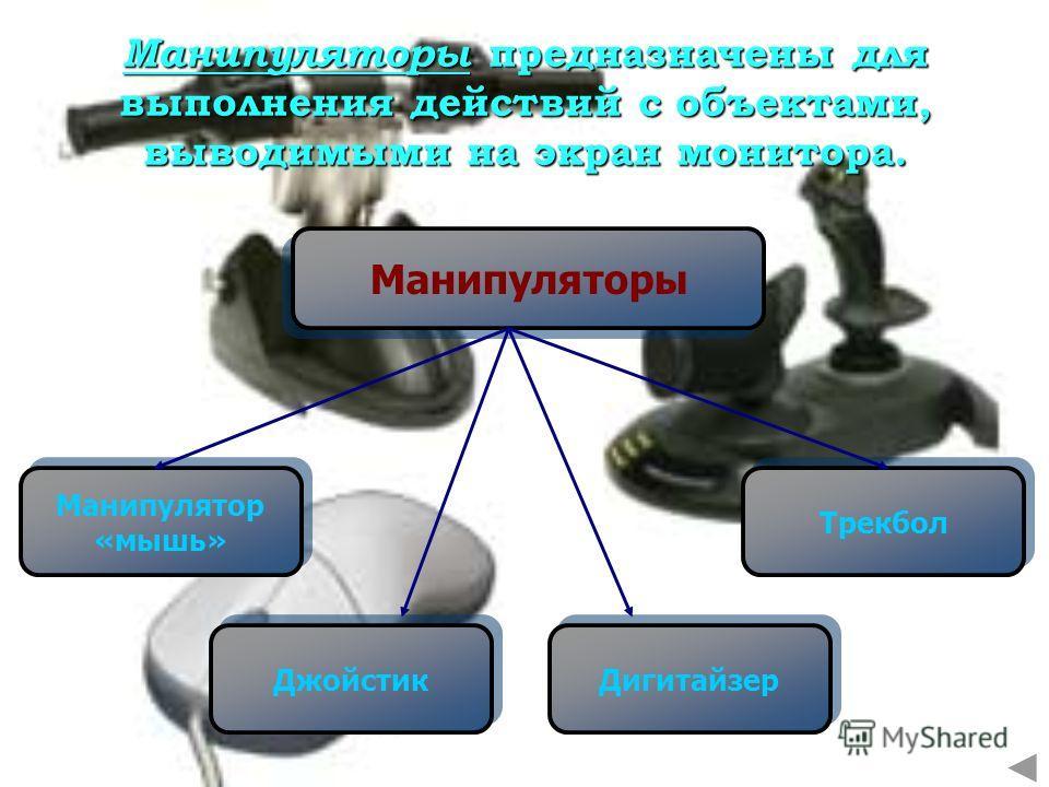 Манипуляторы Манипулятор «мышь» Манипулятор «мышь» Трекбол Джойстик Дигитайзер Манипуляторы предназначены для выполнения действий с объектами, выводимыми на экран монитора.