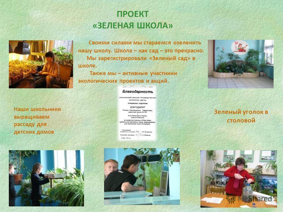 Своими силами мы стараемся озеленить нашу школу. Школа – как сад – это прекрасно. Мы зарегистрировали «Зеленый сад» в школе. Также мы – активные участники экологических проектов и акций. ПРОЕКТ «ЗЕЛЕНАЯ ШКОЛА» Наши школьники выращиваем рассаду для де