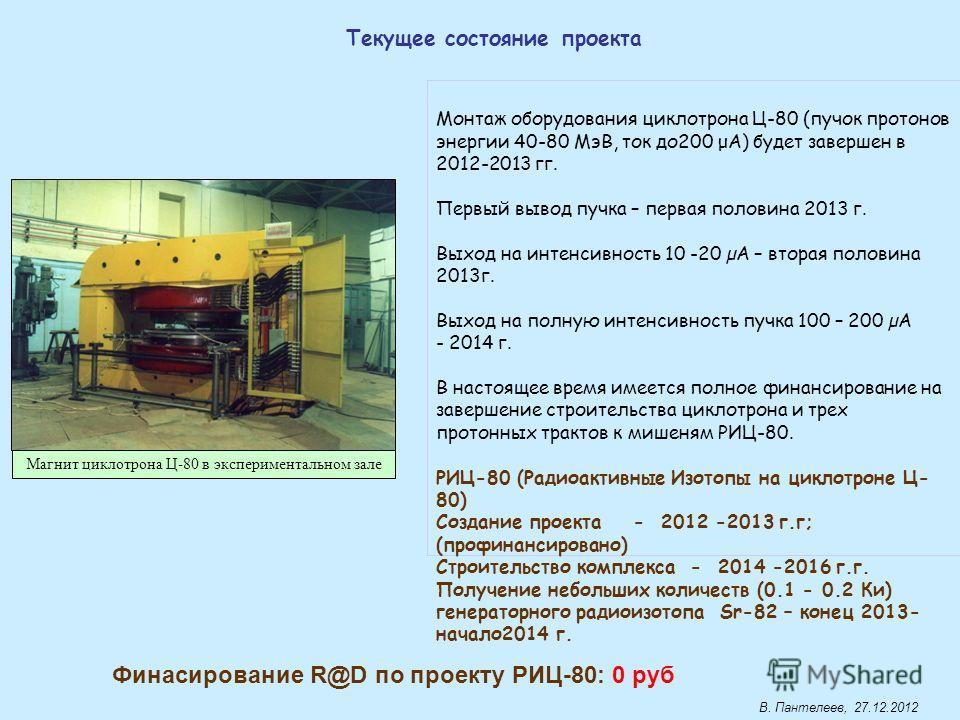 Монтаж оборудования циклотрона Ц-80 (пучок протонов энергии 40-80 МэВ, ток до200 μA) будет завершен в 2012-2013 гг. Первый вывод пучка – первая половина 2013 г. Выход на интенсивность 10 -20 µА – вторая половина 2013г. Выход на полную интенсивность п