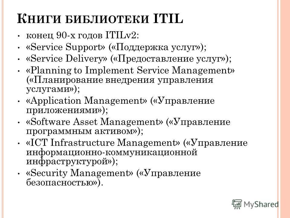 К НИГИ БИБЛИОТЕКИ ITIL конец 90-х годов ITILv2: «Service Support» («Поддержка услуг»); «Service Delivery» («Предоставление услуг»); «Planning to Implement Service Management» («Планирование внедрения управления услугами»); «Application Management» («