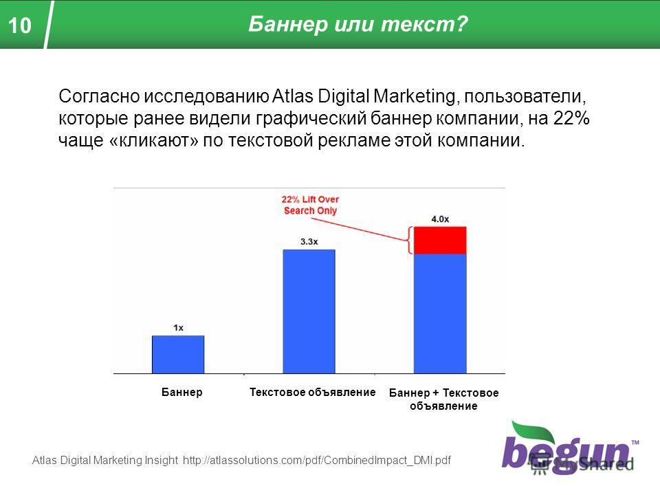 10 Баннер или текст? Согласно исследованию Atlas Digital Marketing, пользователи, которые ранее видели графический баннер компании, на 22% чаще «кликают» по текстовой рекламе этой компании. БаннерТекстовое объявление Баннер + Текстовое объявление Atl