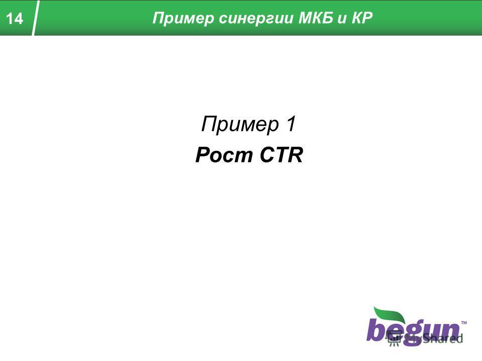 14 Пример 1 Рост CTR Пример синергии МКБ и КР