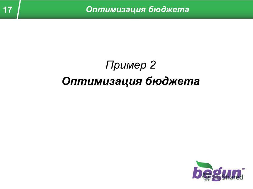 17 Пример 2 Оптимизация бюджета