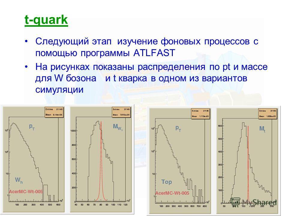 33 t-quark Следующий этап изучение фоновых процессов с помощью программы ATLFAST На рисунках показаны распределения по pt и массе для W бозона и t кварка в одном из вариантов симуляции