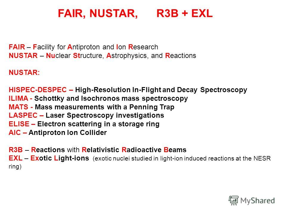 FAIR, NUSTAR, R3B + EXL FAIR – Facility for Antiproton and Ion Research NUSTAR – Nuclear Structure, Astrophysics, and Reactions NUSTAR: HISPEC-DESPEC – High-Resolution In-Flight and Decay Spectroscopy ILIMA - Schottky and Isochronos mass spectroscopy