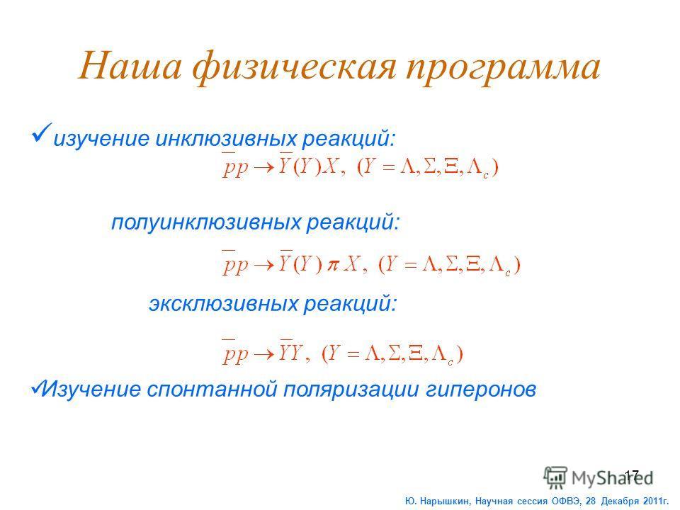 17 Наша физическая программа изучение инклюзивных реакций: полуинклюзивных реакций: эксклюзивных реакций: Изучение спонтанной поляризации гиперонов Ю. Нарышкин, Научная сессия ОФВЭ, 28 Декабря 2011г.