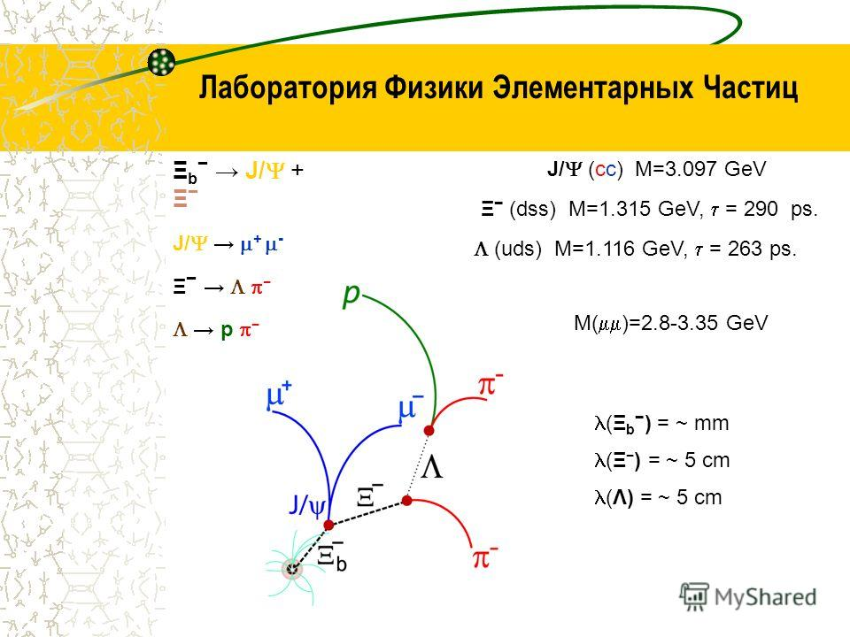 Лаборатория Физики Элементарных Частиц Ξ b J/ + Ξ J/ + - Ξ p J/ (cc) M=3.097 GeV Ξ (dss) M=1.315 GeV, = 290 ps. (uds) M=1.116 GeV, = 263 ps. M( )=2.8-3.35 GeV (Ξ b ) = ~ mm (Ξ ) = ~ 5 cm (Λ) = ~ 5 cm