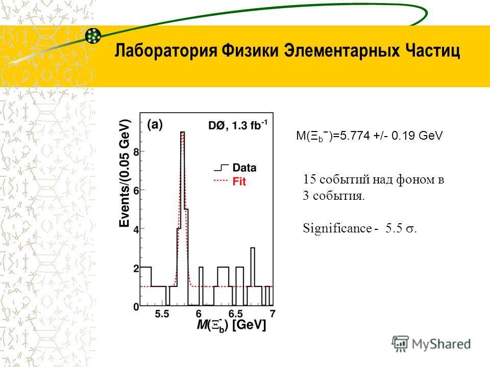 Лаборатория Физики Элементарных Частиц M(Ξ b )=5.774 +/- 0.19 GeV 15 событий над фоном в 3 события. Significance - 5.5.