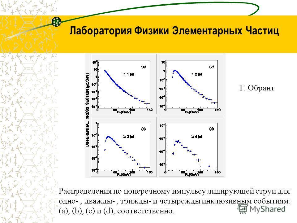 Лаборатория Физики Элементарных Частиц Распределения по поперечному импульсу лидирующей струи для одно-, дважды-, трижды- и четырежды инклюзивным событиям: (a), (b), (c) и (d), соответственно. Г. Обрант