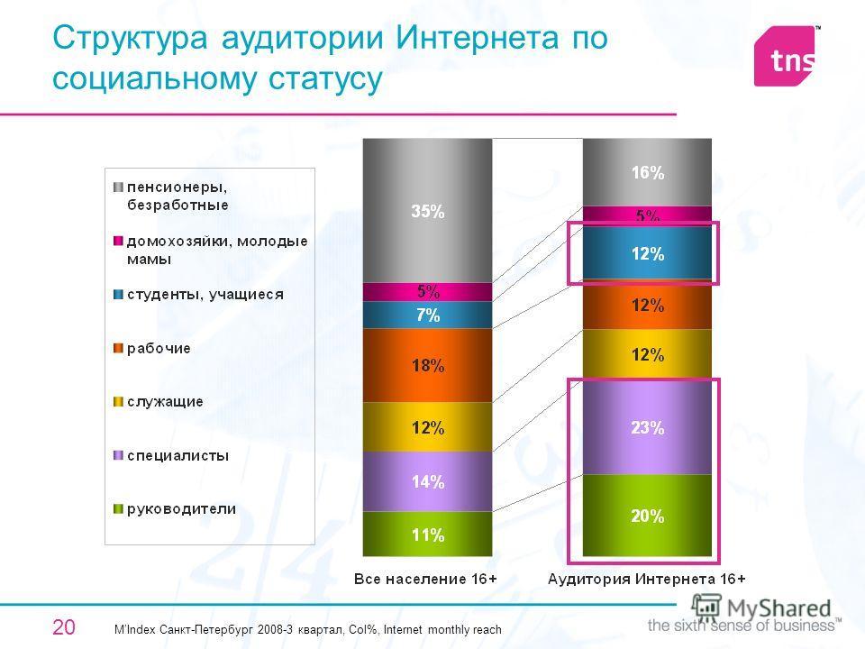 20 Структура аудитории Интернета по социальному статусу MIndex Санкт-Петербург 2008-3 квартал, Col%, Internet monthly reach