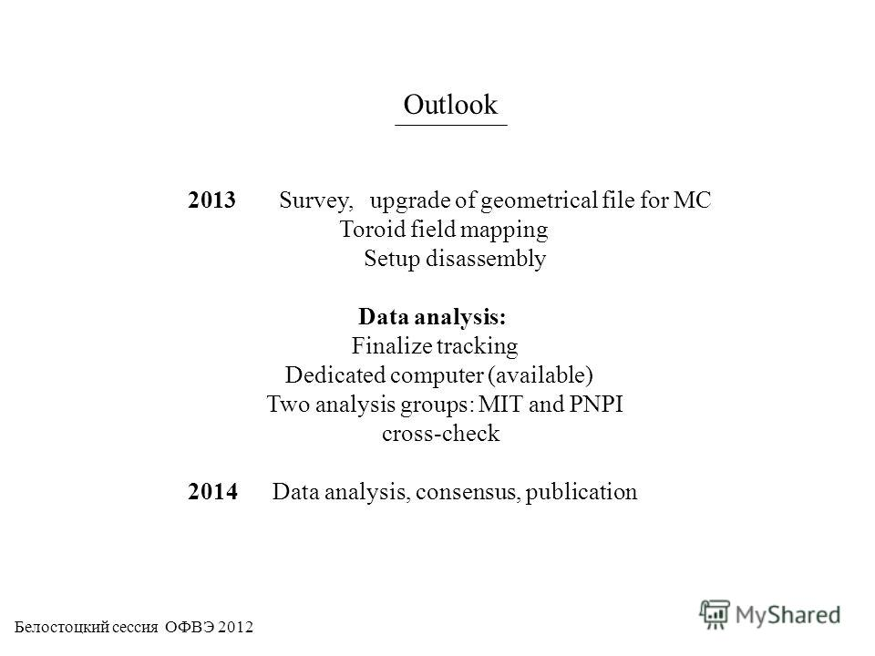 Outlook 2013 Survey, upgrade of geometrical file for MC Toroid field mapping Setup disassembly Data analysis: Finalize tracking Dedicated computer (available) Two analysis groups: MIT and PNPI cross-check 2014 Data analysis, consensus, publication Бе