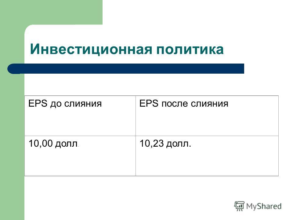 Инвестиционная политика EPS до слиянияEPS после слияния 10,00 долл. 10,23 долл.