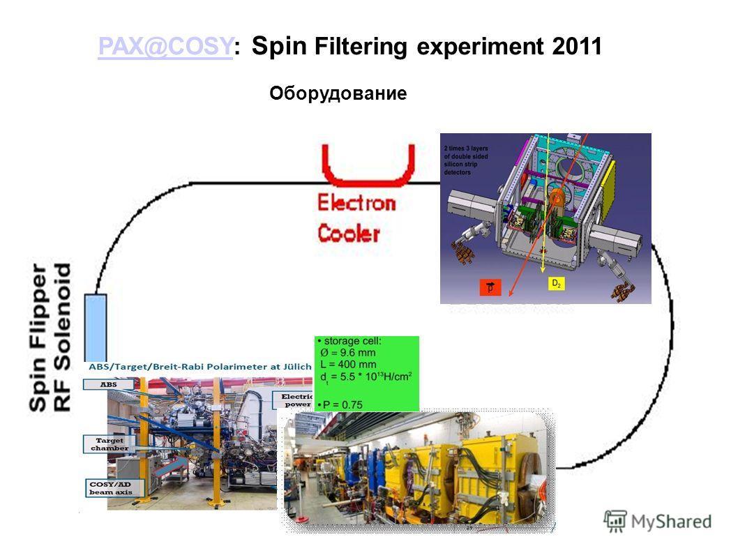 PAX@COSYPAX@COSY: Spin Filtering experiment 2011 Оборудование