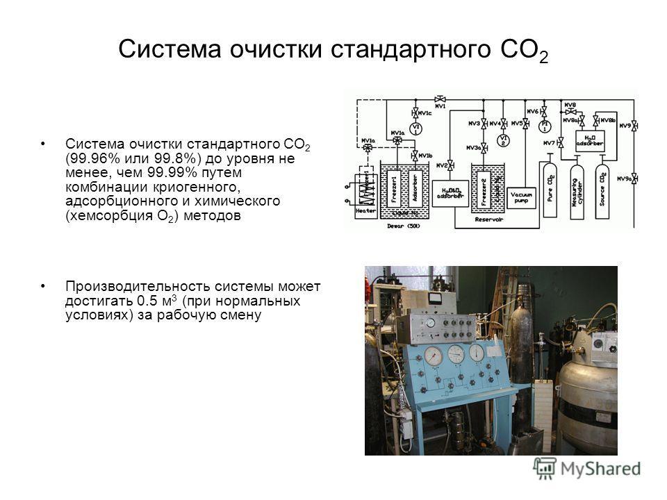 Система очистки стандартного CO 2 Система очистки стандартного CO 2 (99.96% или 99.8%) до уровня не менее, чем 99.99% путем комбинации криогенного, адсорбционного и химического (хемсорбция O 2 ) методов Производительность системы может достигать 0.5