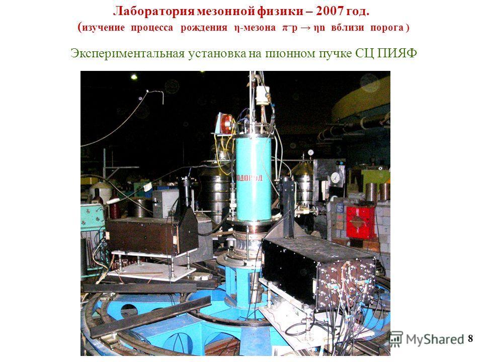 Лаборатория мезонной физики – 2007 год. ( изучение процесса рождения η-мезона π – p ηn вблизи порога ) 8 Экспериментальная установка на пионном пучке СЦ ПИЯФ