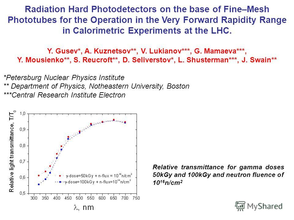 Radiation Hard Photodetectors on the base of Fine–Mesh Phototubes for the Operation in the Very Forward Rapidity Range in Calorimetric Experiments at the LHC. Y. Gusev*, A. Kuznetsov**, V. Lukianov***, G. Mamaeva***, Y. Mousienko**, S. Reucroft**, D.