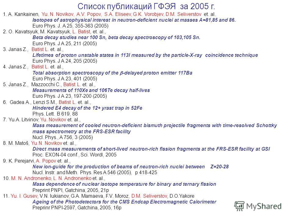 Список публикаций ГФЭЯ за 2005 г. 1. A. Kankainen, Yu. N. Novikov, A.V. Popov, S.A. Eliseev, G.K. Vorobjev, D.M. Seliverstov et. al. Isotopes of astrophysical interest in neutron-deficient nuclei at masses A=81,85 and 86. Euro Phys. J. A 25, 355-363