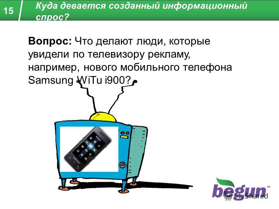 15 Куда девается созданный информационный спрос? Вопрос: Что делают люди, которые увидели по телевизору рекламу, например, нового мобильного телефона Samsung WiTu i900?