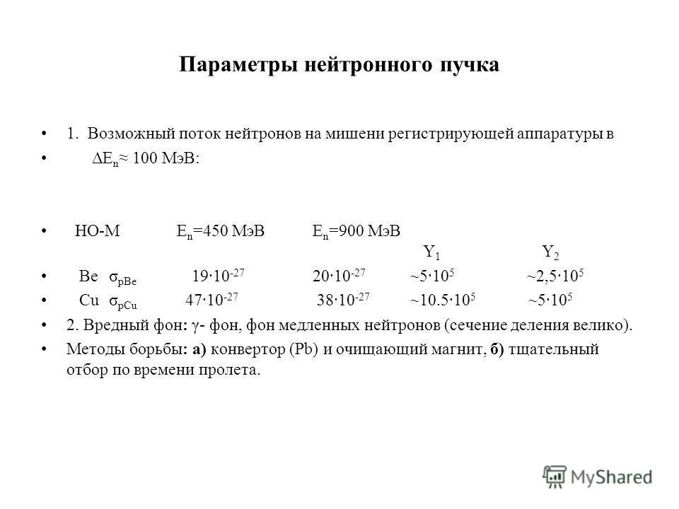 Параметры нейтронного пучка 1. Возможный поток нейтронов на мишени регистрирующей аппаратуры в ΔE n 100 МэВ: НО-М E n =450 МэВE n =900 МэВ Y 1 Y 2 Beσ pBe 1910 -27 2010 -27 ~510 5 ~2,510 5 Cuσ pCu 4710 -27 3810 -27 ~10.510 5 ~510 5 2. Вредный фон: γ-