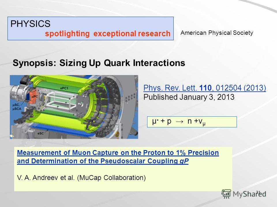31 Synopsis: Sizing Up Quark Interactions Measurement of Muon Capture on the Proton to 1% Precision and Determination of the Pseudoscalar Coupling gP V. A. Andreev et al. (MuCap Collaboration) PHYSICS spotlighting exceptional research American Physic