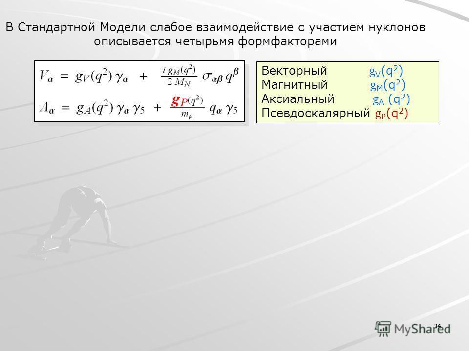 34 В Стандартной Модели слабое взаимодействие с участием нуклонов описывается четырьмя формфакторами Векторный g V (q 2 ) Магнитный g M (q 2 ) Аксиальный g A (q 2 ) Псевдоскалярный g P (q 2 )