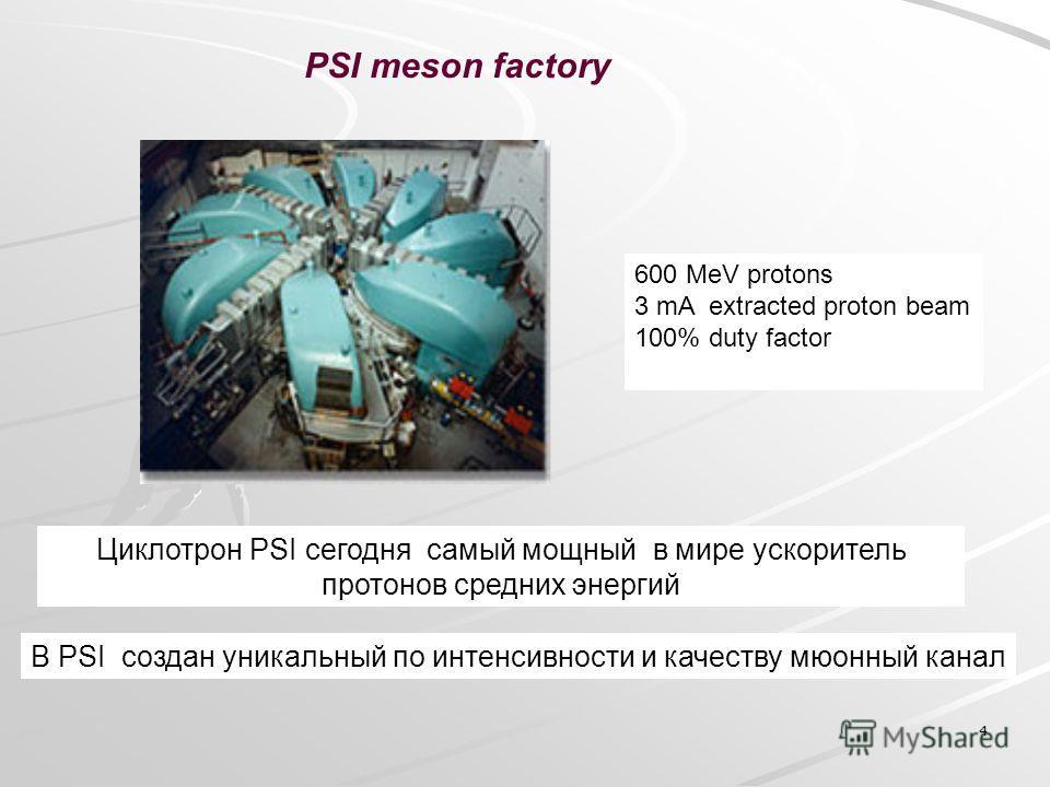 4 PSI meson factory 600 MeV protons 3 mA extracted proton beam 100% duty factor Циклотрон PSI сегодня самый мощный в мире ускоритель протонов средних энергий В PSI создан уникальный по интенсивности и качеству мюонный канал